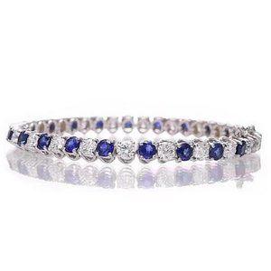 Jewelry - Blue Sapphire & Diamond Tennis Bracelet 8.40 Carat
